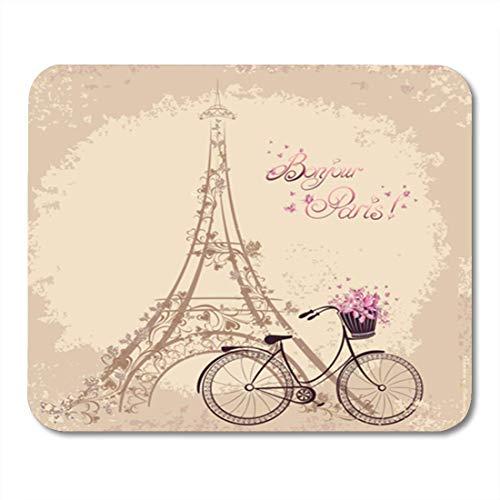 Semtomn Gaming Mouse Pad Bonjour Paris Text mit Tower Eiffel und Fahrrad Romantische Postkarte Dekor Büro rutschfeste Gummi Backing Mousepad Mouse Mat