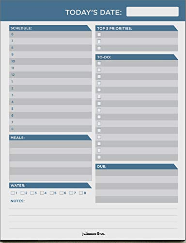 Daily to-Do Planner Notepad by Julianne & Co - Premium Personal Planner Organizer, Home and Office Work Journal, 50 Pages for Daily Tasks, Notes, Water Intake and Meal Prep (Executive Blue)