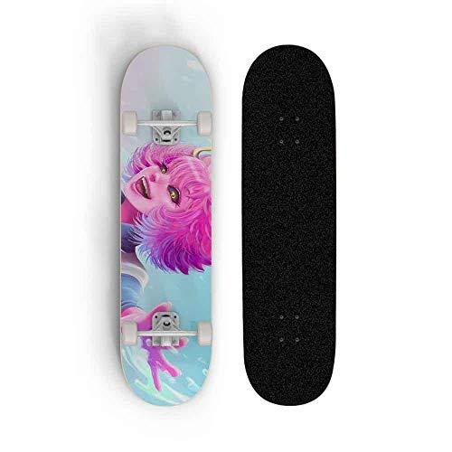 Kssmice Skateboard Complete Cruiser Skateboards My Hero Academia: Ashido Mina, Doble Warped Scooter Tricks 7-Capa Maple Wood PVC Soporte de cuatro ruedas Skateboarding for Niños for principiantes Niño