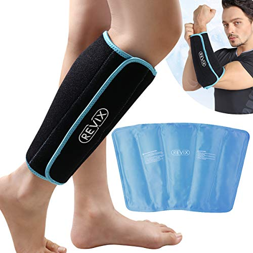 REVIX Calf and Shin Gel Ice Packs for Injuries Reusable Leg Cold Pack Wrap Cold Therapy Compression Sleeve for Swelling, Bruises and Sprains, Shin Splints Leg Pain Relief Support (1 Pack)