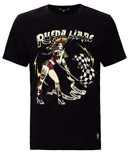 King Kerosin Herren Print T-Shirt Rueda Libre Rundhals Kurzarm Regular Fit Rueda Libre