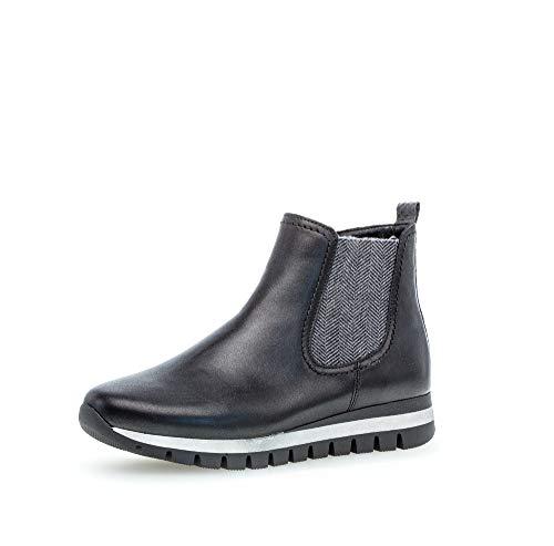 Gabor Damen Stiefeletten, Frauen Chelsea Boots,Comfort-Mehrweite,Reißverschluss,Optifit- Wechselfußbett, Freizeit,schwarz (Micro),42.5 EU / 8.5 UK