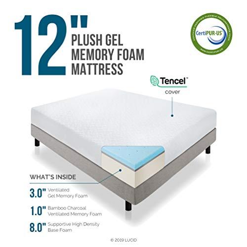 LUCID 12 Inch Gel Memory Foam Mattress - Triple-Layer - 4 Pound Density Ventilated Gel Foam - CertiPUR-US Certified - 10-Year Warranty - Queen with LUCID Encasement Mattress Protector - Queen