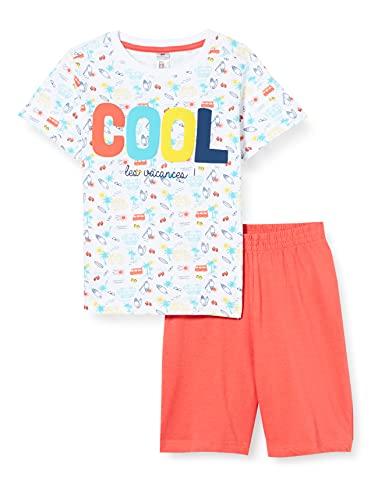 mon P'tit Dodo BG.Van.PSH Juego de Pijama, Blanc/Corail, 8 años para Bebés