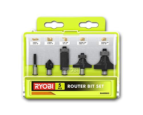 Ryobi 5132003828 Fräsersatz 5-teilig, für Kantenfräse und Oberfräse, Nutfräser, 1x Hohlkehlfräser, 2X Abrundfräser – RAKRBS5