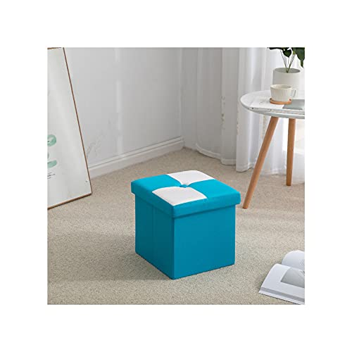 Plegable Otomana Caja De Almacenamiento Asiento,Impermeable Cuero Sintético Taburete Tapizado con Almacenaje Moderno Sala Sofá Puf Reposapiés-Azul-Pequeño