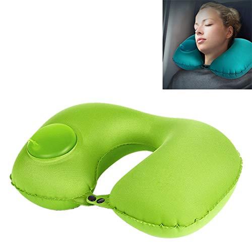 HMG portátil Prensa Tipo automático Que infla el Viaje en Forma de U Almohada for Cuello (Verde) (Color : Green)