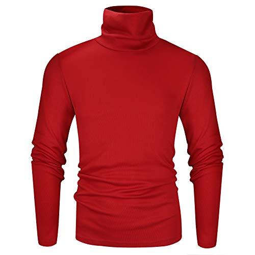 Derminpro Men#039s Turtleneck Soft Long Sleeve Slim Fit Sweatshirt Thermal TShirt Red Large