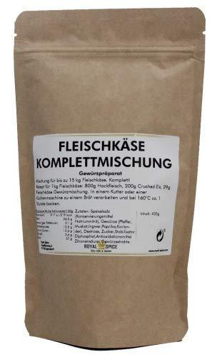 Royal Spice Leberkäse / Fleischkäse Gewürzmischung inkl. Kutterhilfsmittel mit Umrötung & Nitrit Pökelsalz - 435g für bis zu 15 Kg Gesamtmasse! - Bayrischer Leberkaes mit knuspriger Kruste