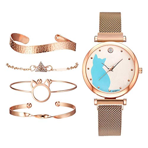 dailymall 5X Relojes de Mujer Pulsera de Cadena Brazalete Joyería de Pulsera Femenina - Oro Rosa