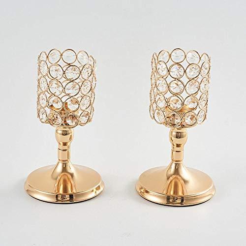 Qingsb 1 stuk uitgehold kristallen lantaarn kandelaar verguld creatieve kandelaar thuis bruiloft decoratie, gouden