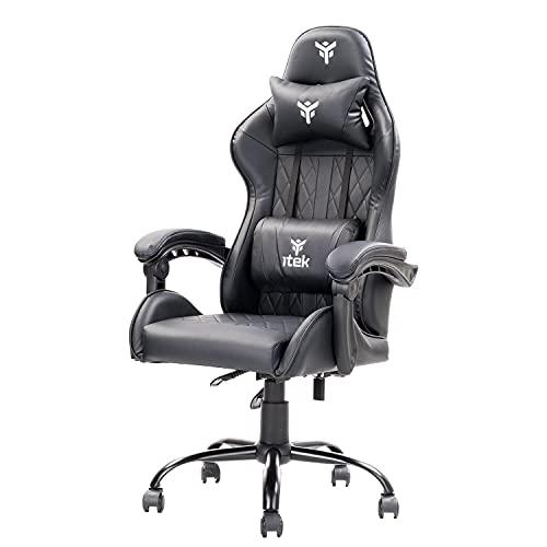 Itek Gaming Chair Rhombus PF10, Cloruro de polivinilo, Negro, Normale