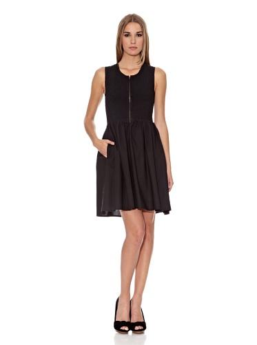 Levi's Damen Kleid (knielang) Levis® SLEEVELESS SMOCKED ZIP UP DRESS 32237, Gr. 36 (S), Schwarz (BLACK 0001)