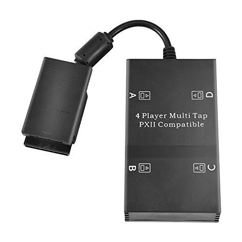 Zerone Multitap für PS2, 4 Spieler Multi-Tap Adapter Stecker mit 4 Speicherplätzen für Playstation 2