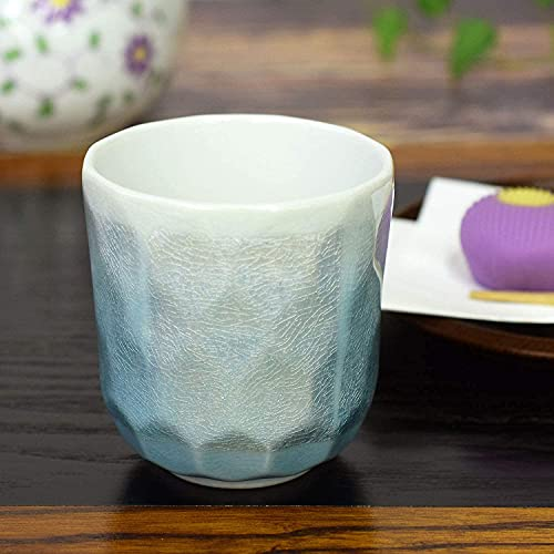 九谷焼 湯呑み 銀彩(ブルー) 陶器 和食器 おしゃれ 日本製