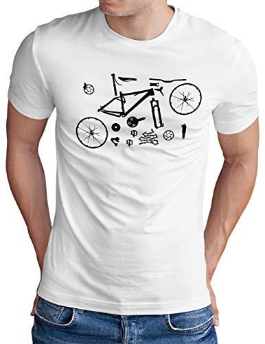 OM3® Mountain-Bike-Parts T-Shirt | Herren | MTB Bicycle Fahrrad Radsport Radfahrer | Weiß, XXL