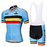 Maillots De Ciclismo Set Para Hombre,Verano Bélgica Ciclismo Jersey Mtb Bicicleta Set Ropa Desgaste Superior Mens Quick-Dry Bike Camiseta 3D Acolchado De Gel Maillots Para Deporte Al Aire Libre En Bi