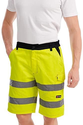 Mivaro Kurze Herren Arbeitshose Shorts mit Reflexstreifen in Signalfarben, Farbe:Gelb, Größe Hosen:L