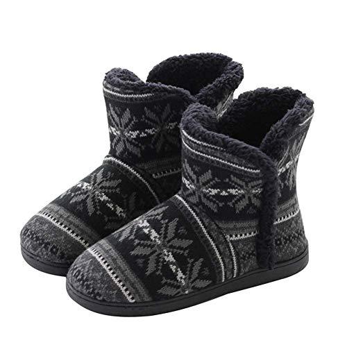 tqgold Pantuflas para Mujer Hombre Zapatillas de Estar por casa con Pompons Pelusa Botas de Invierno(Negro,43/44 EU)