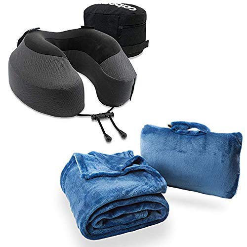 Cabeau Evolution S3 Travel Pillow and Fold 'n Go Travel and Throw Blanket Bundle Kit