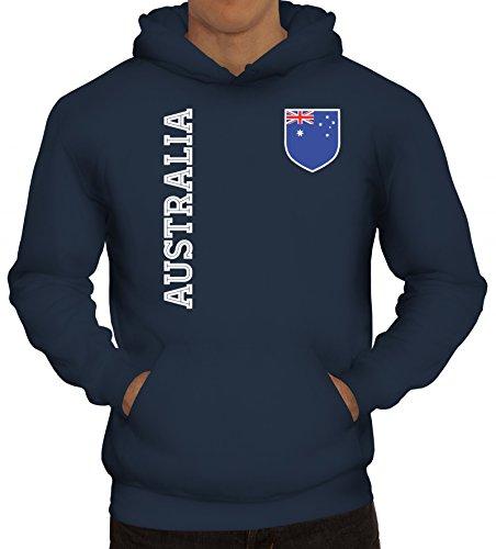 Australien Fußball WM Fanshirt Gruppen Herren Hoodie Männer Kapuzenpullover Fan Trikot Australia, Größe: XL,Navy