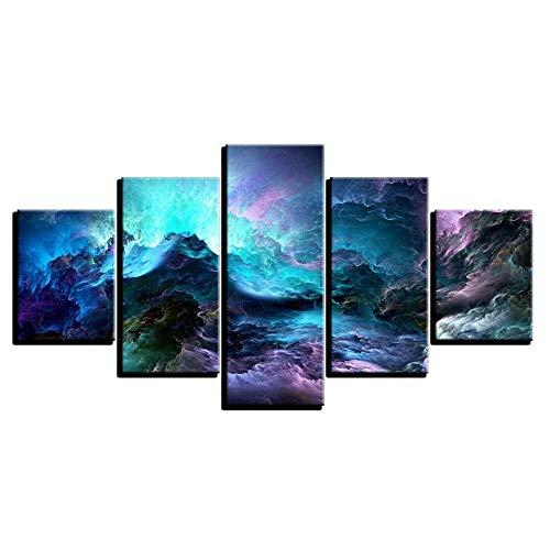 YTFOPLK Leinwand Poster Home Decor Wandkunst Framework 5 Stück Zusammenfassung Psychedelic Nebula Space Paintings Moderne HD-Drucke Wolkenbilder-200X100CM