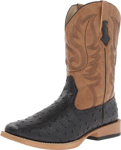 Roper Men's Ostrich Print Square Toe Cowboy Boot, Black Faux Leather/Western Stitch, 9.5 D - Medium