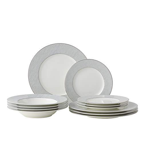 Amazon Brand - Umi Juego de vajilla para 4 platos de 12 piezas, platos laterales, cuencos de sopa, diseño clásico con bandas plateadas
