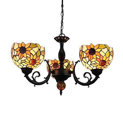 Techo de la sala Luz Luz pendiente de la flor de Sun del estilo de Tiffany colgante de la lámpara de la lámpara del vidrio manchado naranja cortinas de la lámpara 3 armas de la lámpara de techo Con in