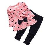Bonjouree Ensembles Pantalons et Haut Bébé Filles T Shirt Manches Longues et Pantalons Long pour Enfant (3-6 Mois, Rose)