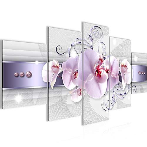 Bilder Blumen Orchidee Wandbild 200 x 100 cm Vlies - Leinwand Bild XXL Format Wandbilder Wohnzimmer Wohnung Deko Kunstdrucke Violett 5 Teilig - MADE IN GERMANY - Fertig zum Aufhängen 007951a
