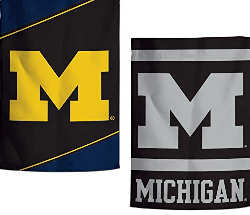 WinCraft Michigan Wolverines Garden Flag, Action Stripes and Charcoal Edition, 12.5x18 inches, 2 Sided