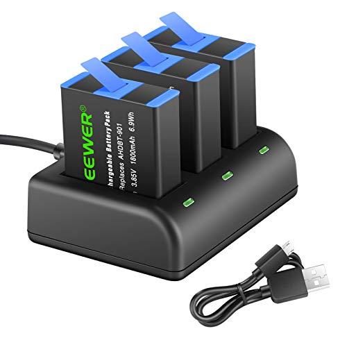 Neewer Cargador de Batería Set Compatible con GoPro Hero 5 Black Hero (2018) Hero 6 Hero 7 Hero 9 (3 Baterías Repuesto 1800mAh AHDBT-501, Cargador Micro USB de 3 Canales) Compatible con el Original