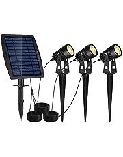Reuyer ソーラーライト 屋外 スポットライト LEDガーデンライト IP65防水 暖色系 玄関 庭 駐車場 芝生 防犯対策 自動点灯/消灯