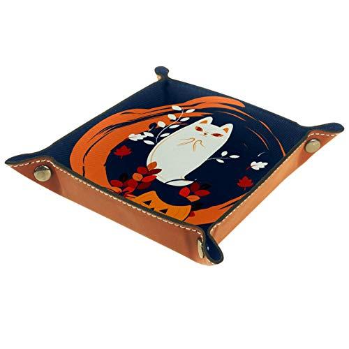ZDL Caja de almacenamiento Cat and MoonStorage Box organizador para llaves, teléfono, moneda, cartera, relojes, etc. 20.5 x 20.5