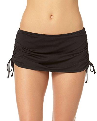 Cole of California Women's Plus-Size Super Solids Shirred Tie Side Skirted Bikini Bottom, Black, 18