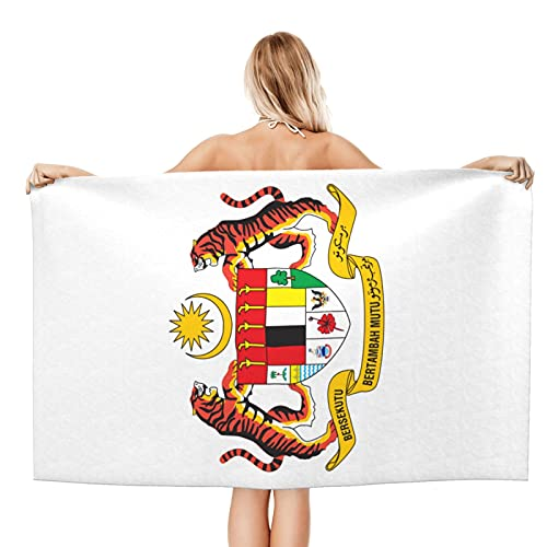 Coat of arms of Malaysia Personalized Beach Towel 100% Polyester Beach Towel Super Absorbent Light Weight Soft and Fast Drying Swimming Towel 32x52 Inch