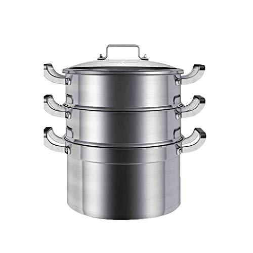 JXLBB Vapeur Acier inoxydable Trois couches 3 couches épaisses Cuiseur à induction Casserole à usage domestique Vase à soupe Cuit à la vapeur à la vapeur