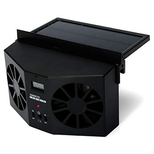 MASO Ventilador de escape de coche con energía solar, ventilador de radiador de coche, ahorro de energía de ventilación de aire purificadores de aire 2 W ABS (negro)