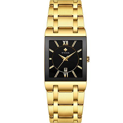 Relojes para Hombres Relojde Cuarzo Cuadrado Dorado Primera Marca para Hombres Relojde Pulsera Masculino Dorado Resistente al Agua Relojes para Hombres