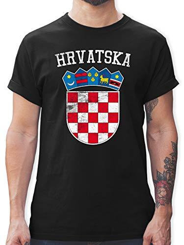 Fußball-Europameisterschaft 2021 - Kroatien Wappen WM - XL - Schwarz - t-Shirts Herren XXL - L190 - Tshirt Herren und Männer T-Shirts