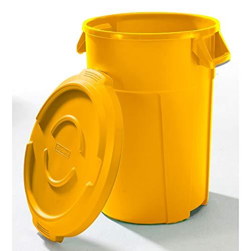 Conteneur multi-fonctions en plastique - capacité 120 l, revêtement qualité alimentaire - jaune - collecteur de déchets collecteur de tri collecteurs de tri conteneur multi-usages poubelle poubelle de tri poubelle à ordures poubelles de tri Collecteur de