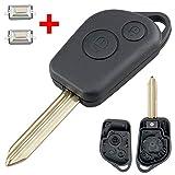 Carcasa para llave de coche con 2 microinterruptores para Citroen Picasso, Saxo, Berlino, Xsara, 2 botones, hoja sin...