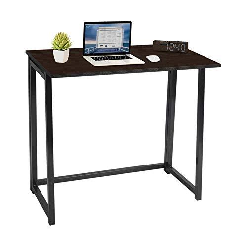 Escritorio plegable, sin montaje, pequeño escritorio de computadora, escritorio de oficina en casa, mesa plegable, escritorio de estudio, estación de trabajo para oficinas de espacio pequeño (marrón)