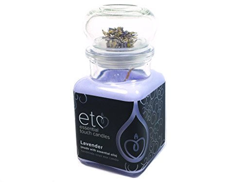 Essential Touch Candles Bougie en Cire de soja Parfum Lavande Photophore Violet