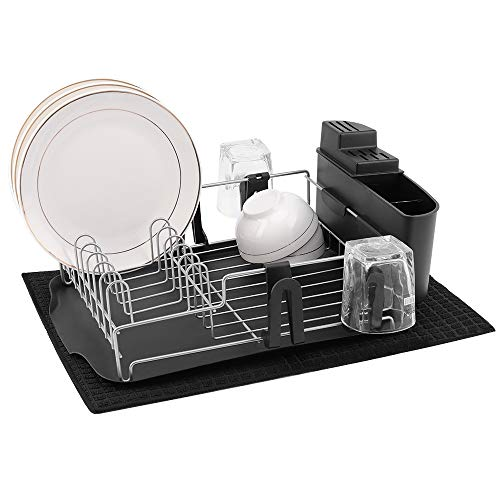 alvorog Dish Drying Rack Kitchen Dish Rack with Removable Drain Board Cutlery Cup Holder Microfiber Dish Drying Mat Fully Customizable Dish Drainer for Counter