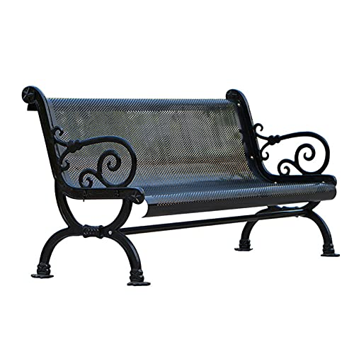 HOUSEHOLD Outdoor Garden Bench, Galvanized Frame Terrace Park Bench, Outdoor Ergonomic Bench With Armrests And Backrest, Can Load 500kg