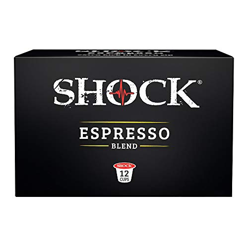 Shock Coffee Espresso Single Serve Cups, 12 count. Compatible with Keurig K-Cup Brewers 2.0