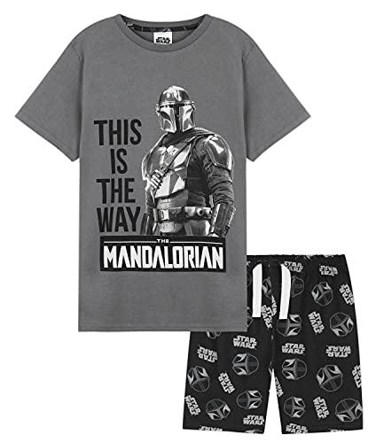 Disney Pijama Niño Verano, Pijama Niño con Baby Yoda Y The Mandalorian, Conjunto Verano Niño De Star Wars, Pijama para Niños Algodón 7-14 Años (Gris, 11-12 años)