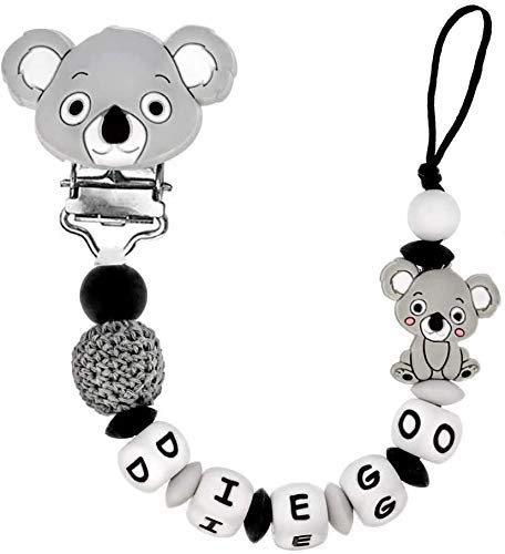 Silikon Schnullerkette mit Name, personalisierter baby-schnuller, antibakterielles silikon clip Koala Schnullerkette